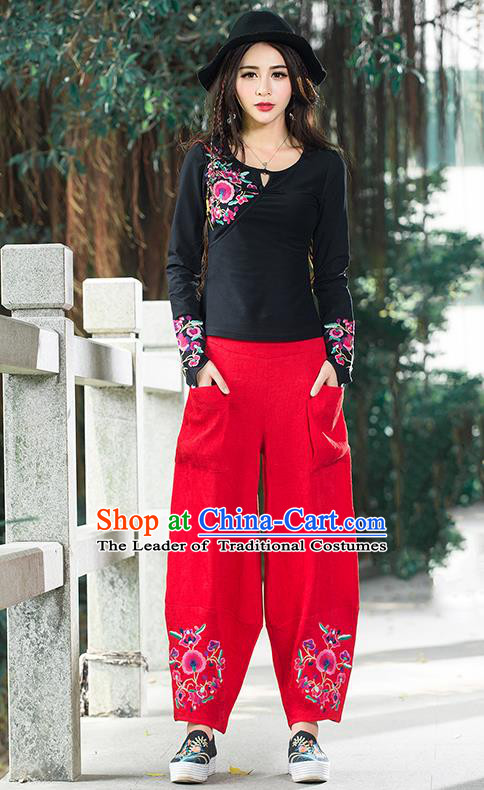 Traditional Chinese National Costume Plus Fours, Elegant Hanfu Embroidery Red Corduroy Bloomers, China Ethnic Minorities Folk Dance Tang Suit Pantalettes for Women