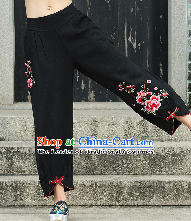 Traditional Chinese National Costume Loose Pants, Elegant Hanfu Embroidery Peony Black Bloomers, China Ethnic Minorities Folk Dance Tang Suit Pantalettes for Women