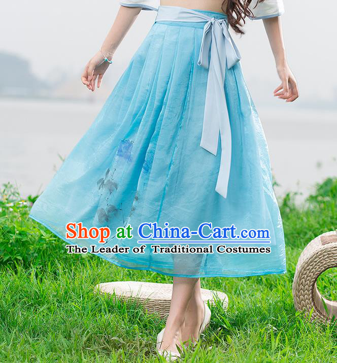 Traditional Ancient Chinese National Pleated Skirt Costume, Elegant Hanfu Chiffon Long Blue Dress, China Tang Dynasty Bust Skirt for Women