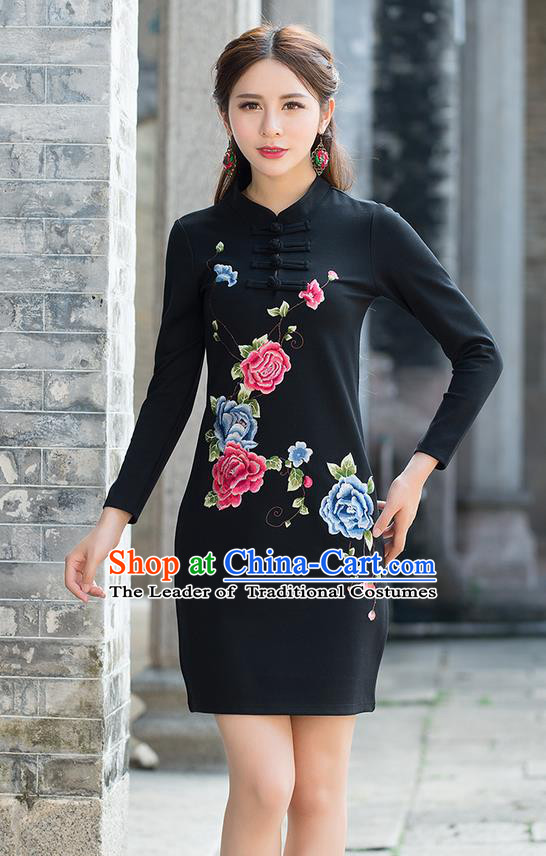 Traditional Ancient Chinese National Costume, Elegant Hanfu Mandarin Qipao Linen Embroidery Black Dress, China Tang Suit Plated Buttons Chirpaur Republic of China Cheongsam Upper Outer Garment Elegant Dress Clothing for Women