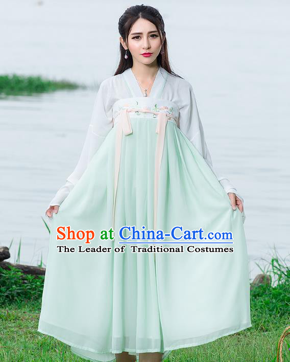 Traditional Ancient Chinese National Costume, Elegant Hanfu Embroidery Blouse and Dress, China Tang Dynasty Upper Outer Garment Elegant Blue Dress Clothing for Women