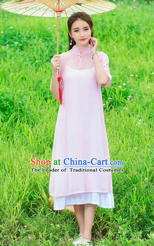 Traditional Ancient Chinese National Costume, Elegant Hanfu Mandarin Qipao Stand Collar Two-Piece Pink Chiffon Dress, China Tang Suit Plated Buttons Chirpaur Republic of China Cheongsam Upper Outer Garment Elegant Dress Clothing for Women