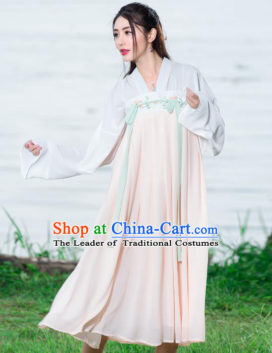 Traditional Ancient Chinese National Costume, Elegant Hanfu Embroidery Blouse and Dress, China Tang Dynasty Upper Outer Garment Elegant Pink Dress Clothing for Women