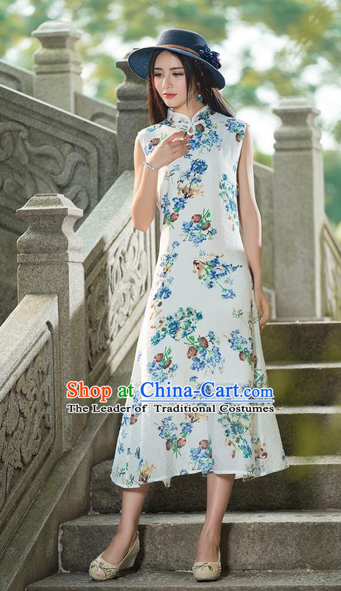 Traditional Ancient Chinese National Costume, Elegant Hanfu Mandarin Qipao Painting Stand Collar White Dress, China Tang Suit Plated Button Chirpaur Republic of China Cheongsam Upper Outer Garment Elegant Dress Clothing for Women