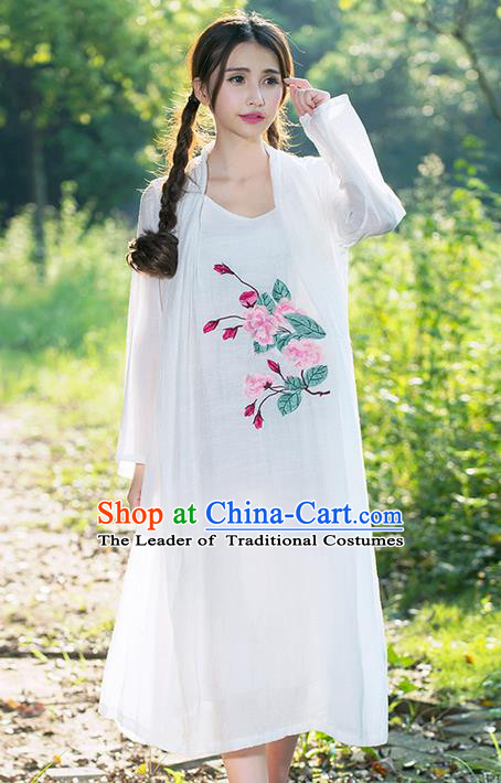 Traditional Ancient Chinese National Costume, Elegant Hanfu White Cardigan and Dress, China Tang Suit Upper Outer Garment Elegant Dress Clothing for Women