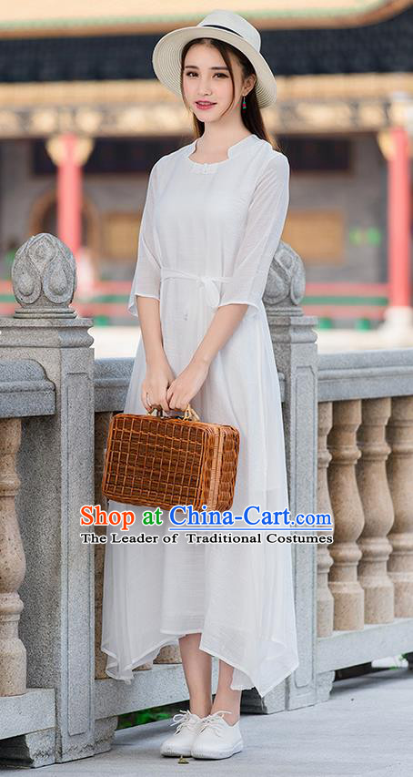 Traditional Ancient Chinese National Costume, Elegant Hanfu Mandarin Qipao Linen White Dress, China Tang Suit Chirpaur Republic of China Cheongsam Upper Outer Garment Elegant Dress Clothing for Women