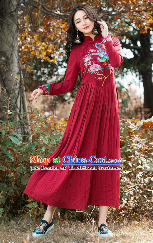 Traditional Ancient Chinese National Costume, Elegant Hanfu Mandarin Qipao Linen Embroidery Phoenix Red Dress, China Tang Suit National Minority Dance Elegant Dress Clothing for Women