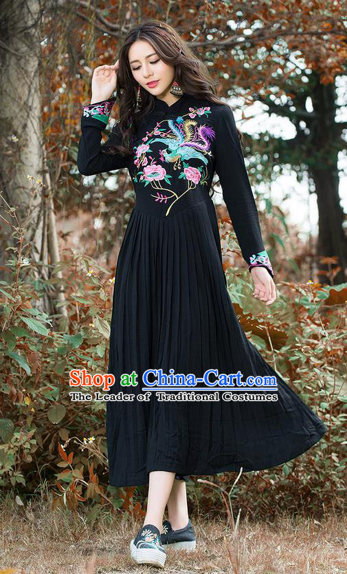 Traditional Ancient Chinese National Costume, Elegant Hanfu Mandarin Qipao Linen Embroidery Phoenix Black Dress, China Tang Suit National Minority Dance Elegant Dress Clothing for Women