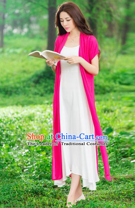 Traditional Ancient Chinese National Costume, Elegant Hanfu Embroidery Pink Cardigan, China Tang Suit Cape, Upper Outer Garment Dust Coat Cloak Clothing for Women
