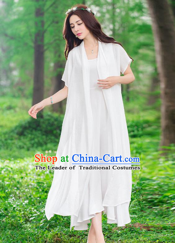 Traditional Ancient Chinese National Costume, Elegant Hanfu Embroidery White Cardigan, China Tang Suit Cape, Upper Outer Garment Dust Coat Cloak Clothing for Women
