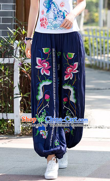 Traditional Chinese National Costume Plus Fours, Elegant Hanfu Patch Embroidery Lotus Navy Bloomers, China Ethnic Minorities Folk Dance Tang Suit Pantalettes for Women