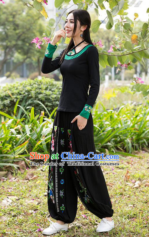 Traditional Chinese National Costume Plus Fours, Elegant Hanfu Embroidery Lotus Black Bloomers, China Ethnic Minorities Folk Dance Tang Suit Pantalettes for Women