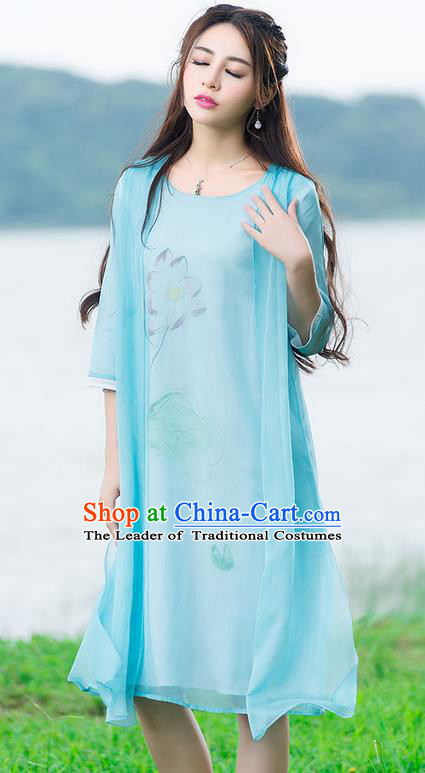 Traditional Ancient Chinese National Costume, Elegant Hanfu Painting Flowers Blue Dress, China Tang Suit National Minority Dance Elegant Dress Clothing for Women
