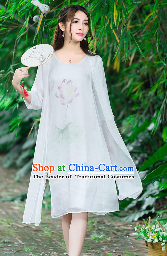 Traditional Ancient Chinese National Costume, Elegant Hanfu Painting Flowers White Dress, China Tang Suit National Minority Dance Elegant Dress Clothing for Women