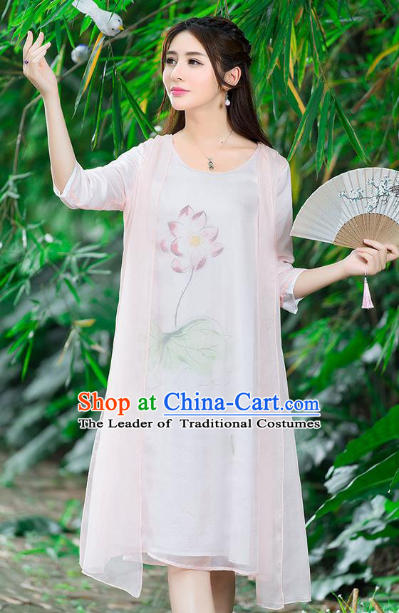 Traditional Ancient Chinese National Costume, Elegant Hanfu Painting Flowers Pink Dress, China Tang Suit National Minority Dance Elegant Dress Clothing for Women