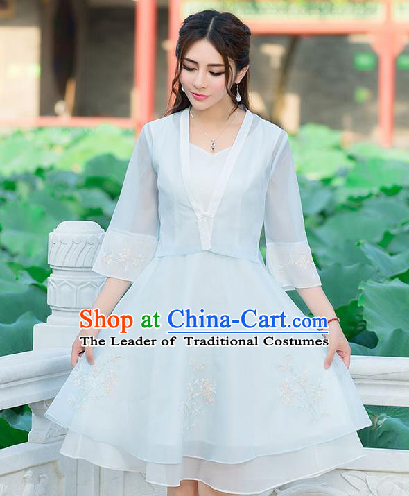 Traditional Ancient Chinese National Costume, Elegant Hanfu Embroidery Flowers Dress, China Tang Suit National Minority Dance Elegant Dress Clothing for Women