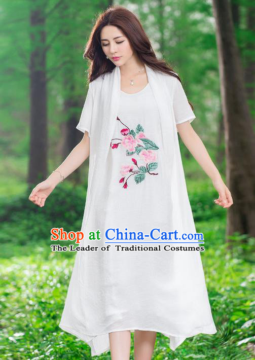 Traditional Ancient Chinese National Costume, Elegant Hanfu Mandarin Qipao Linen Embroidery White Dress, China Tang Suit National Minority Dance Elegant Dress Clothing for Women
