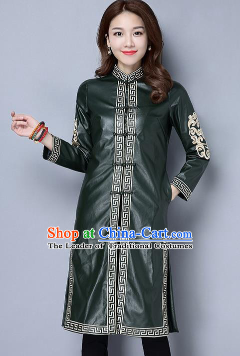 Traditional Ancient Chinese National Costume, Elegant Hanfu Stand Collar Green PU Coat Robes, China Tang Suit Plated Buttons Cape, Upper Outer Garment Dust Coat Clothing for Women