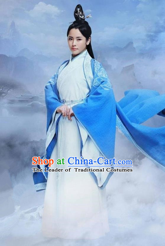Traditional Ancient Chinese Elegant Swordsman Costume, Chinese Han Dynasty Taoist Nun Dress, Cosplay Chinese Television Drama Jade Dynasty Qing Yun Faction Peri Hanfu Trailing Embroidery Clothing for Women