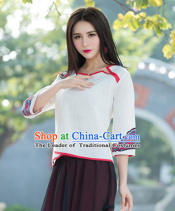 Traditional Chinese National Costume, Elegant Hanfu Embroidery Flowers White T-Shirt, China Tang Suit Republic of China Blouse Cheongsam Upper Outer Garment Qipao Shirts Clothing for Women