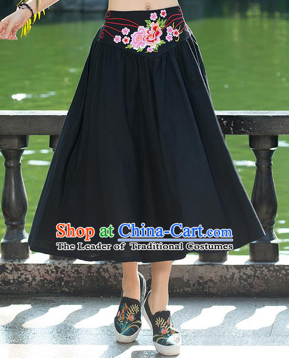 Traditional Ancient Chinese National Pleated Skirt Costume, Elegant Hanfu Embroidery Flowers Belt Long Black Skirt, China Tang Suit Bust Skirt for Women