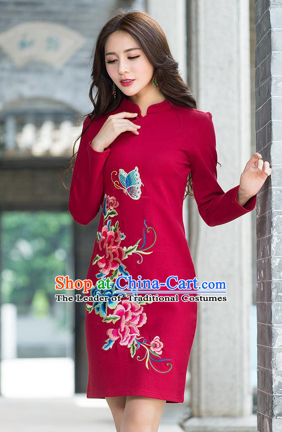 Traditional Ancient Chinese National Costume, Elegant Hanfu Mandarin Qipao Embroidery Flowers Red Dress, China Tang Suit Chirpaur Republic of China Stand Collar Cheongsam Elegant Dress Clothing for Women