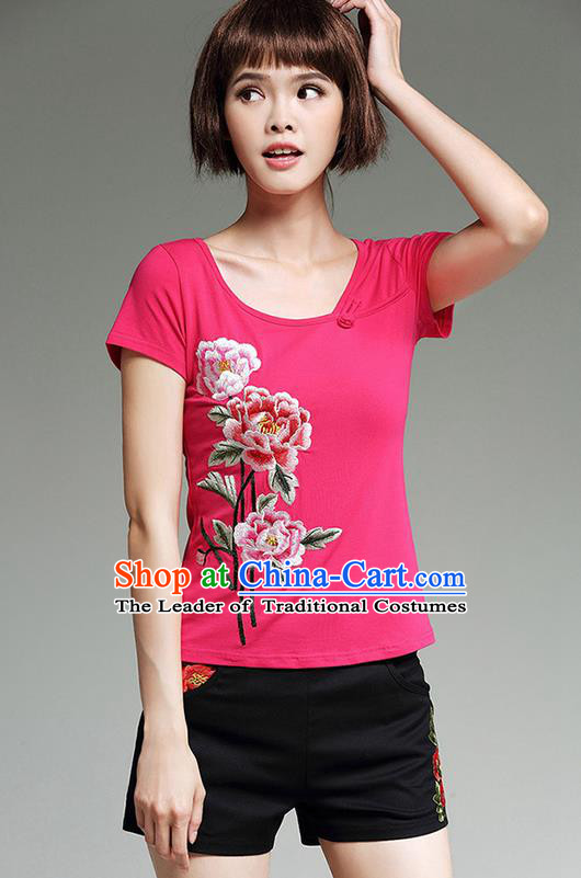 Traditional Chinese National Costume, Elegant Hanfu Embroidery Peony Flowers Round Collar Pink T-Shirt, China Tang Suit Republic of China Blouse Cheongsam Upper Outer Garment Qipao Shirts Clothing for Women