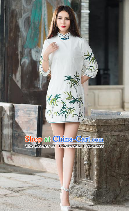 Traditional Ancient Chinese National Costume, Elegant Hanfu Mandarin Qipao Embroidery Bamboo White Dress, China Tang Suit Chirpaur Republic of China Stand Collar Cheongsam Elegant Dress Clothing for Women