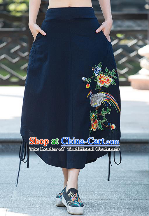 Traditional Ancient Chinese National Pleated Skirt Costume, Elegant Hanfu Embroidery Birds Flowers Long Blue Irregular Skirt, China Tang Suit Bust Skirt for Women