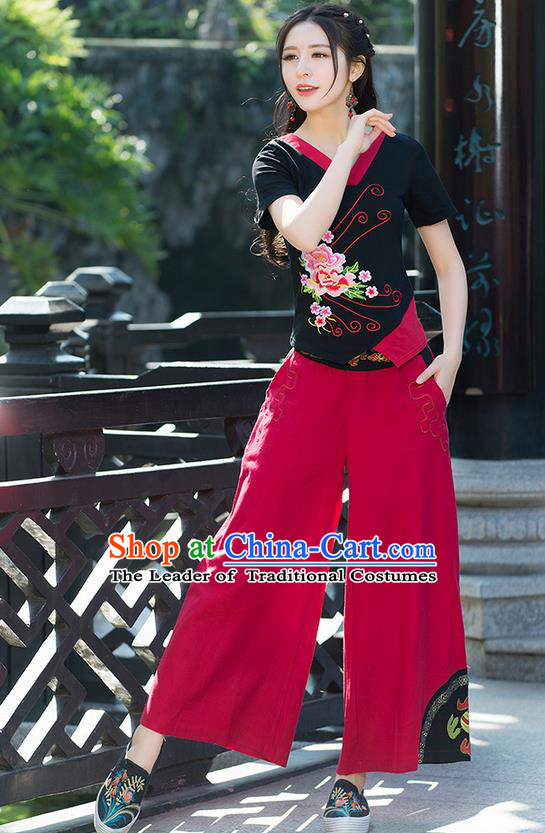 Traditional Chinese National Costume Loose Pants, Elegant Hanfu Embroidered Red Wide-leg Trousers, China Ethnic Minorities Folk Dance Baggy Pants for Women