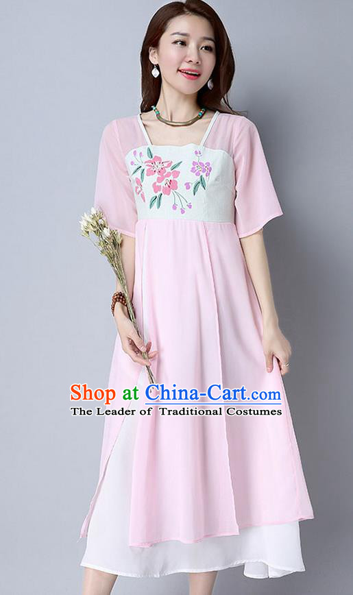 Traditional Ancient Chinese National Costume, Elegant Hanfu Chiffon Printing Flowers Pink Dress, China Tang Suit Chirpaur Cheongsam Elegant Dress Clothing for Women