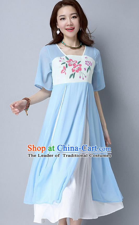 Traditional Ancient Chinese National Costume, Elegant Hanfu Chiffon Printing Flowers Blue Dress, China Tang Suit Chirpaur Cheongsam Elegant Dress Clothing for Women