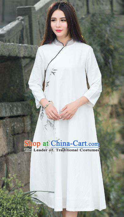 Traditional Ancient Chinese National Costume, Elegant Hanfu Mandarin Qipao Painting Bamboo White Dress, China Tang Suit Chirpaur Republic of China Stand Collar Cheongsam Elegant Dress Clothing for Women