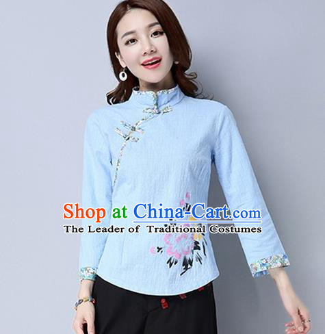 Traditional Chinese National Costume, Elegant Hanfu Painting Peony Flowers Slant Opening Blue Shirt, China Tang Suit Republic of China Plated Buttons Blouse Cheongsam Upper Outer Garment Qipao Shirts Clothing for Women