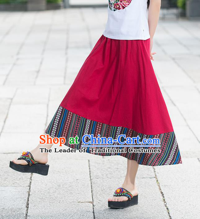 Traditional Ancient Chinese National Pleated Skirt Costume, Elegant Hanfu Flowers Long Red Skirt, China National Minority Tang Suit Big Swing Bust Skirt for Women