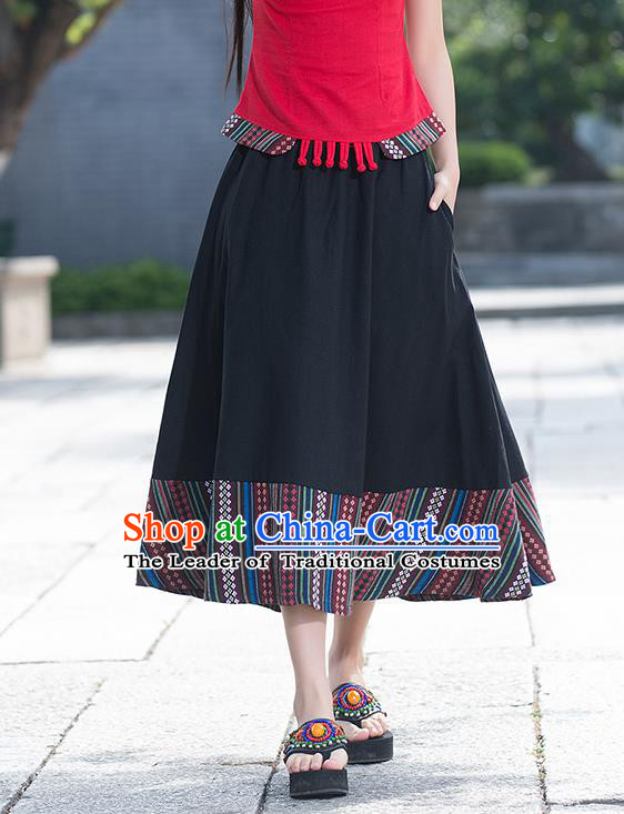 Traditional Ancient Chinese National Pleated Skirt Costume, Elegant Hanfu Flowers Long Back Skirt, China National Minority Tang Suit Big Swing Bust Skirt for Women