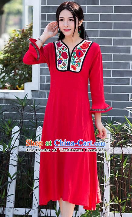 Traditional Ancient Chinese National Costume, Elegant Hanfu Linen Patch Embroidery Flowers Red Dress, China Tang Suit Mandarin Sleeve Chirpaur Cheongsam Elegant Dress Clothing for Women