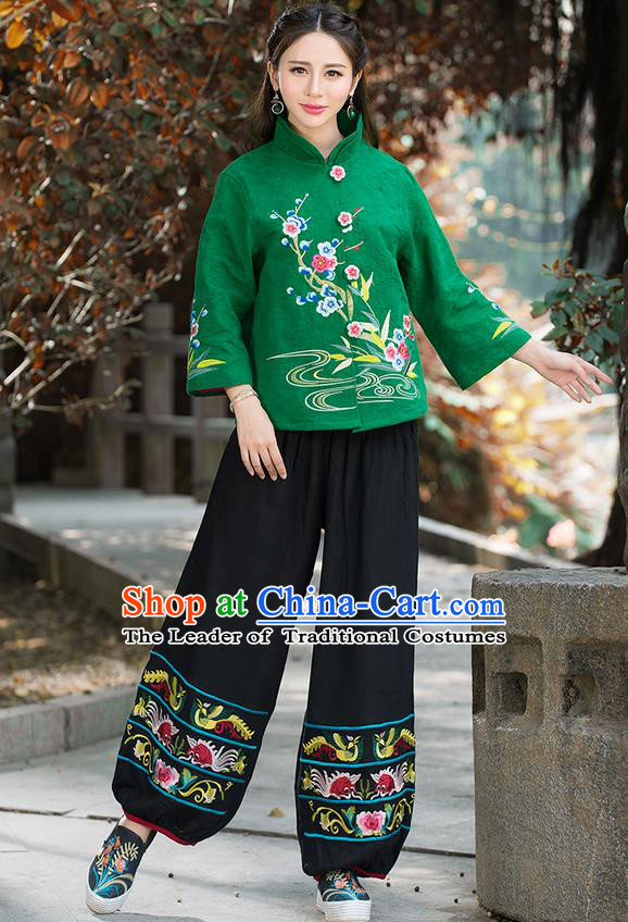 Traditional Chinese National Costume, Elegant Hanfu Embroidery Flowers Slant Opening Green Coat, China Tang Suit Republic of China Plated Buttons Blouse Cheongsam Upper Outer Garment Qipao Jacket Clothing for Women