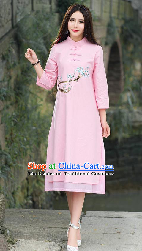 Traditional Ancient Chinese National Costume, Elegant Hanfu Mandarin Qipao Embroidery Flowers Pink Dress, China Tang Suit Stand Collar Chirpaur Republic of China Plated Buttons Cheongsam Elegant Dress Clothing for Women