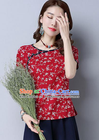 Traditional Chinese National Costume, Elegant Hanfu Flower Color Red T-Shirt, China Tang Suit Republic of China Plated Buttons Blouse Cheongsam Upper Outer Garment Qipao Shirts Clothing for Women