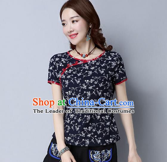 Traditional Chinese National Costume, Elegant Hanfu Flower Color Navy T-Shirt, China Tang Suit Republic of China Plated Buttons Blouse Cheongsam Upper Outer Garment Qipao Shirts Clothing for Women