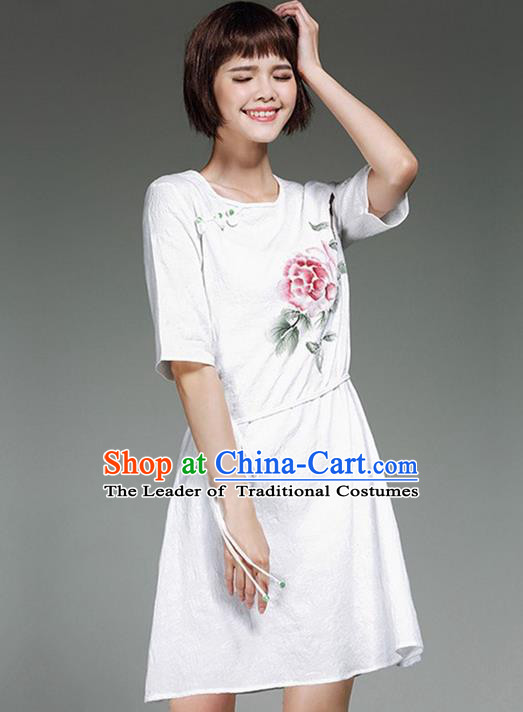 Traditional Ancient Chinese National Costume, Elegant Hanfu Printing White Dress, China Tang Suit Chirpaur Republic of China Plated Buttons Cheongsam Elegant Dress Clothing for Women