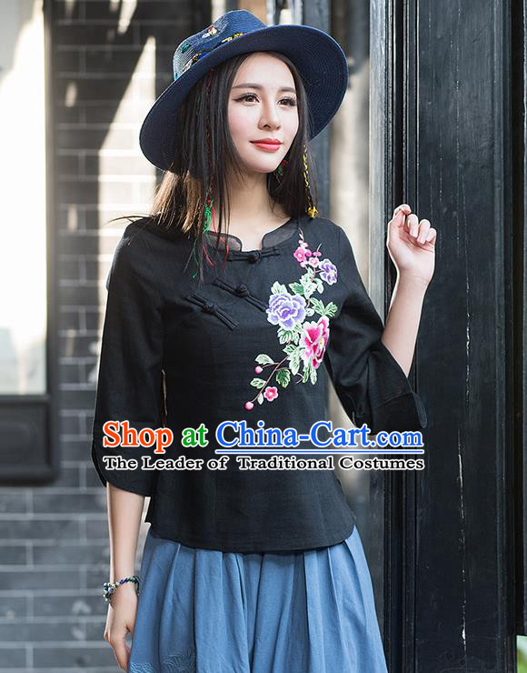 Traditional Chinese National Costume, Elegant Hanfu Embroidery Flowers Slant Opening Black Blouses, China Tang Suit Republic of China Plated Buttons Linen Blouse Cheongsam Upper Outer Garment Qipao Shirts Clothing for Women
