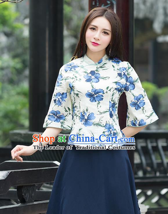 Traditional Chinese National Costume, Elegant Hanfu Linen Slant Opening Blue T-Shirt, China Tang Suit Republic of China Plated Buttons Blouse Cheongsam Upper Outer Garment Qipao Shirts Clothing for Women