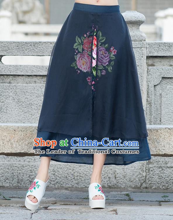 Traditional Ancient Chinese National Pleated Skirt Costume, Elegant Hanfu Embroidery Peony Flowers Double-deck Long Navy Skirt, China Tang Suit Bust Skirt for Women