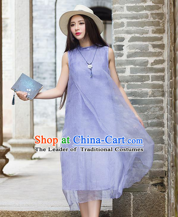 Traditional Ancient Chinese National Costume, Elegant Hanfu Mandarin Qipao Purple Dress, China Tang Suit Chirpaur Republic of China Stand Collar Cheongsam Elegant Dress Clothing for Women