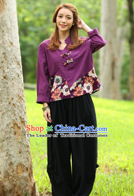 Traditional Chinese National Costume, Elegant Hanfu Joint Color Flowers Linen Purple T-Shirt, China Tang Suit Plated Buttons Blouse Cheongsam Upper Outer Garment Qipao Shirts Clothing for Women