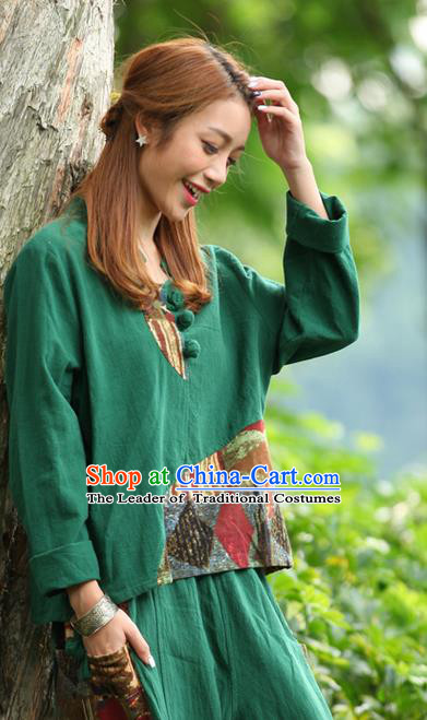 Traditional Chinese National Costume, Elegant Hanfu Joint Color Flowers Linen Plated Buttons Green T-Shirt, China Tang Suit Blouse Cheongsam Upper Outer Garment Qipao Shirts Clothing for Women