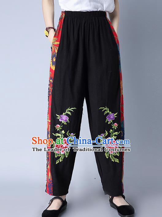 Traditional Chinese National Costume Plus Fours, Elegant Hanfu Patch Embroidery Peony Black Bloomers, China Ethnic Minorities Folk Dance Tang Suit Pantalettes for Women