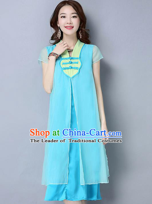 Traditional Ancient Chinese National Costume, Elegant Hanfu Chiffon Plated Buttons Blue Dress, China Tang Suit Chirpaur Cheongsam Elegant Dress Clothing for Women